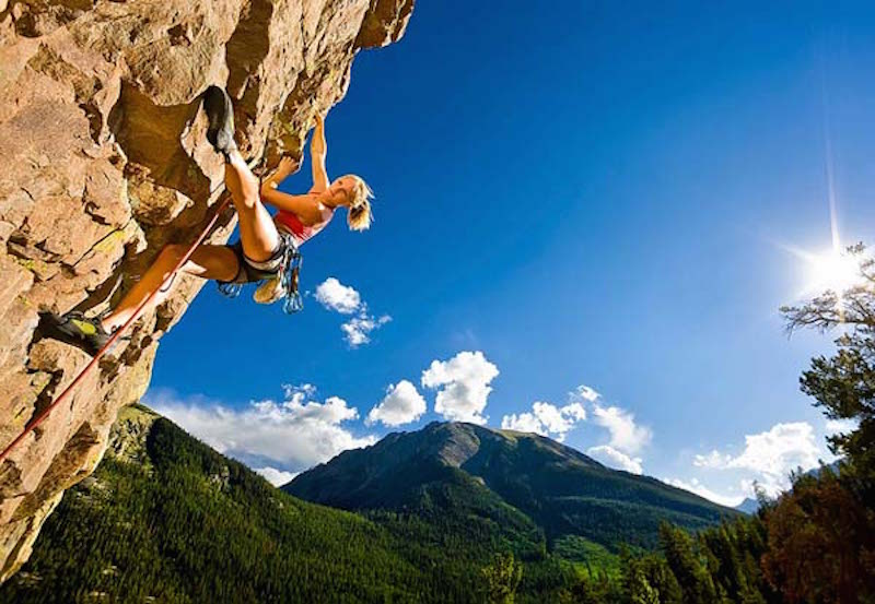Jessa Younker rock climbing at Monitor Rock and Whirlpool Rock, Independence Pass, Aspen, Colorado.